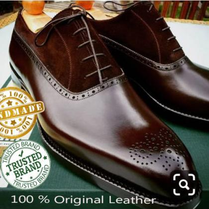 Handmade Mens Browne Awesome Brogue..