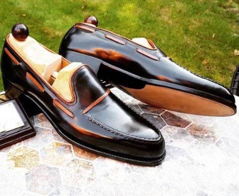 Men Casual Dressing Double Loafer Shoes Handmade Manfacture