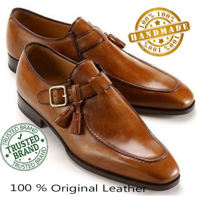 Handmade Men Decent Boat Monk Leather Brown Shoes