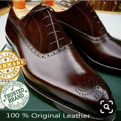 Handmade Mens Browne Awesome Brogue Shoes Available
