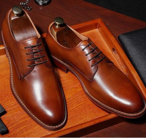 Handmade Men Awesome Pant Coat Look Brown Derby Genuine Leather Shoes
