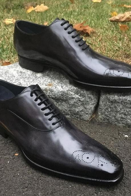 Men New Black Leather Formal Brogue shoes Handmade Edition