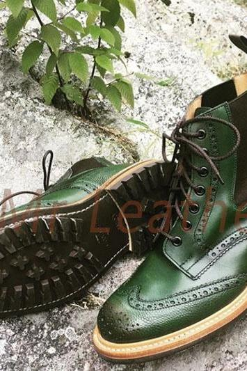 Men Green Tone Wing Tip Hand Craft Leather Boot Christmas Sale