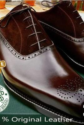 Handmade Best Selling Chocolate Leather Suede Brogue Lace up Shoe