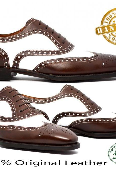 Handmade Mens Wing Tip Brown Leather Classic Shoes