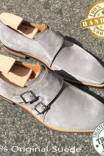 Handmade Mens Double Monk Gray Shoes