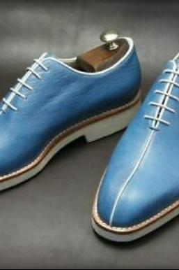 Hand Craft Blue Mid Cut Blue Leather Shoea