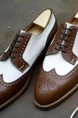 White Brown Leather Awesome Men Dressing Shoes