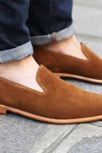 Handmade Men Loafer Casual Brown Genuine Suede Shoes