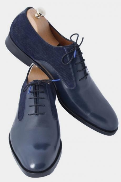 Handmade Customize Navy Blue Leather Tweed Lace Up Formal Sale Shoes