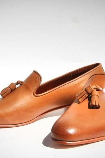 Men Awesome Handmade Anniversary Brown Tassels Loafer in Genuine Leather Shoes