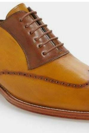 Handmade Casual Look Tan Brown Brogue Classic Wing Tip Lace Up Shoes In Genuine Leather