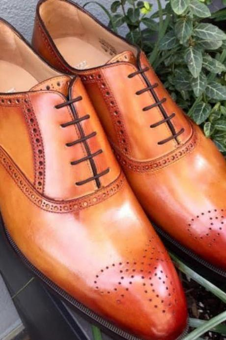 Handmade Mens Decent Party Look Tan Leather Brogue Best In Genuine Leather Shoes
