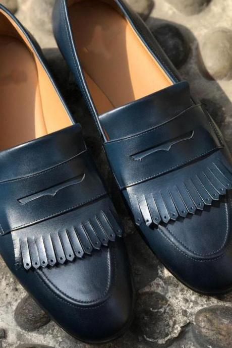 Men Awesome Handmade Navy Blue Leather Fringe Penny Loafer Shoes in Genuine Leather Shoes
