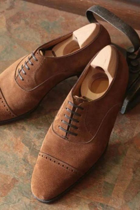 Handmade Mens Casual Dress Brown Cap Toe Lace Up Shoes In Genuine Suede