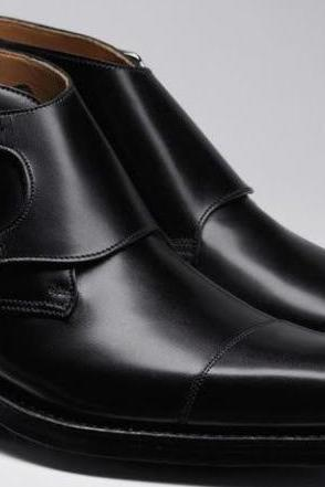 Latest Handmade Awesome Outstanding Hiking Blackish Cap Toe Double Monk Ankle High Boot in Genuine Leather