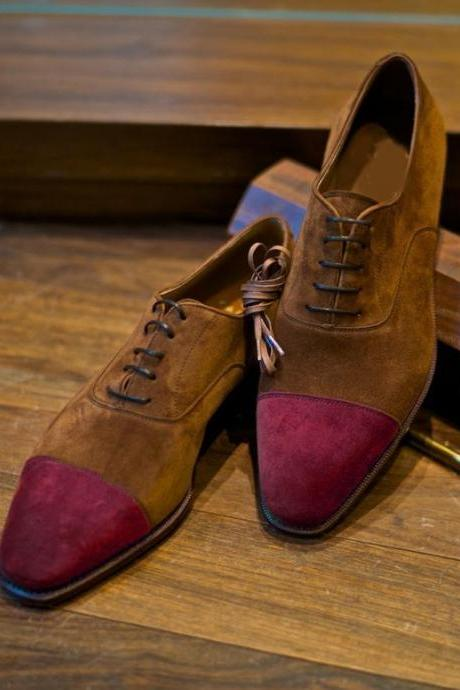 Handmade Customize Decent Formal Look Dark Brown Burgundy Cap Toe Lace Up Designer Shoes In Genuine Suede