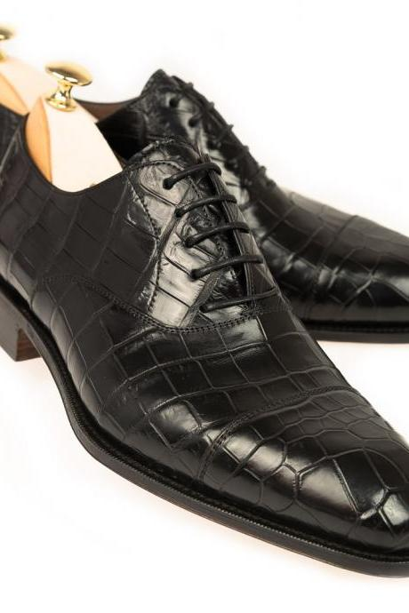 New Handmade Manufactured Black Crocodile Skin Leather Cap Toe Formal Shoes
