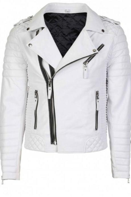 New Men Cow White Awesome Looks Side Zipper Fashion Handmade Jacket
