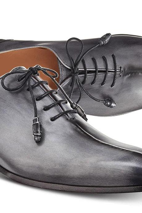 Handmade men New Gray Leather Customize Fashion Lace Up Shoes