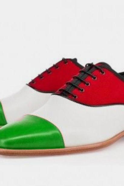 New Cow Boy Looks Men Red Green Cap Toe lace Up Dress Shoes