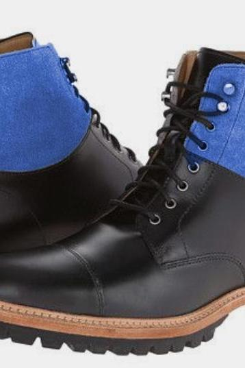 Mens Best Black Blue Outerwear Lace Up Ankle High Rubber Sole Handmade Boot