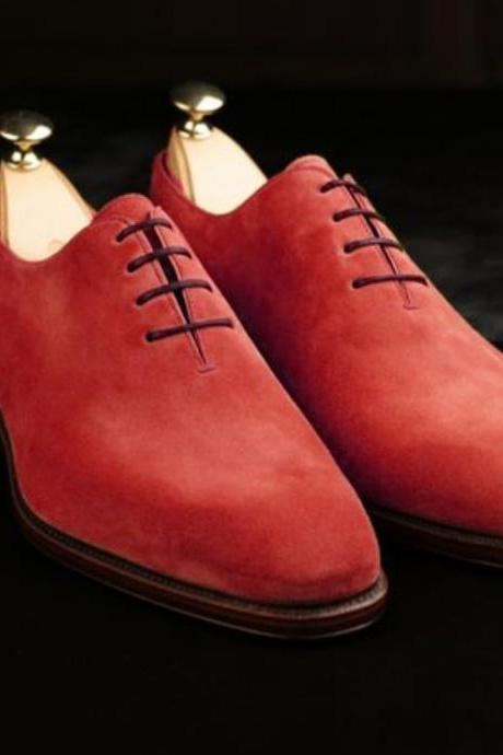 Men Handmade Red Derby Oxfords Lace Up Shoes