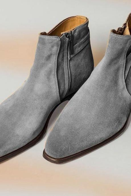 New Handmade Customize Gray Buckle Zip Fastening Suede Boot All Sizes Available