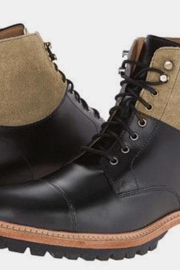 Mens Best Black Sand Outerwear Lace Up Ankle High Rubber Sole Handmade Boot