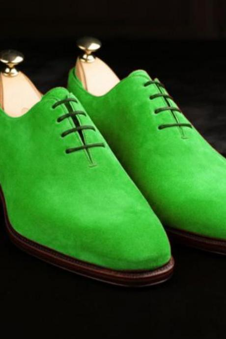 Men Handmade Green Derby Oxfords Lace Up Shoes
