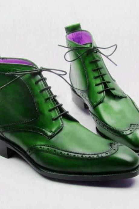 Mens Best Green Outerwear Lace Up Ankle High Handmade Boot