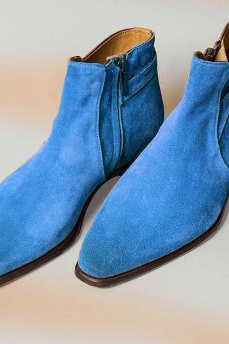 New Handmade Customize Blue Buckle Zip Fastening Suede Boot All Sizes Available