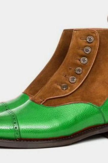 New Men Button Boot Brown Green Cap Toe Style Handmade