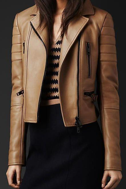 Women New Trendy Brown Leather Fashion Jacket