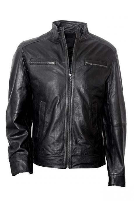 Men simple cow leather black outerwear jacket