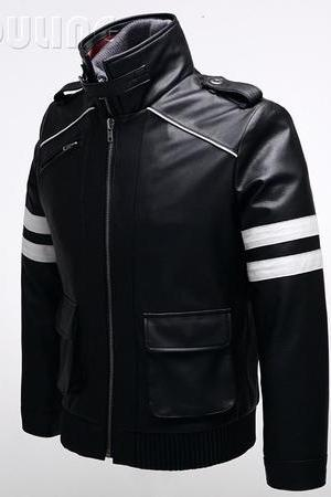 Handmade Men Black Studded With White Bands Casual wear Jacket