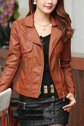 Women New Trendy Chocolate Brown Leather Fashion Jacket