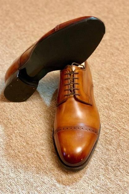 Mens Choice Oxfords Tan Brown Captoe Lace Up Office Shoes