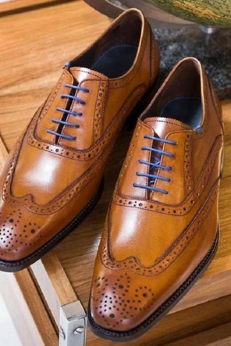 Men Cognac Brown Brogue Oxfords Collection Handmade Wingtip Lace Up Shoes