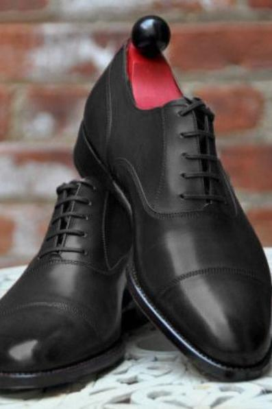 Men Black Cap Toe Sale Price Dress Up Shoes Handmade Edition