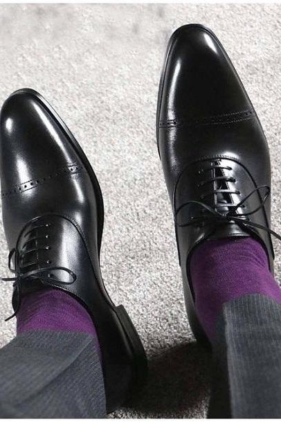 Handmade Black oxfords Lover Formal Occasions Shoes