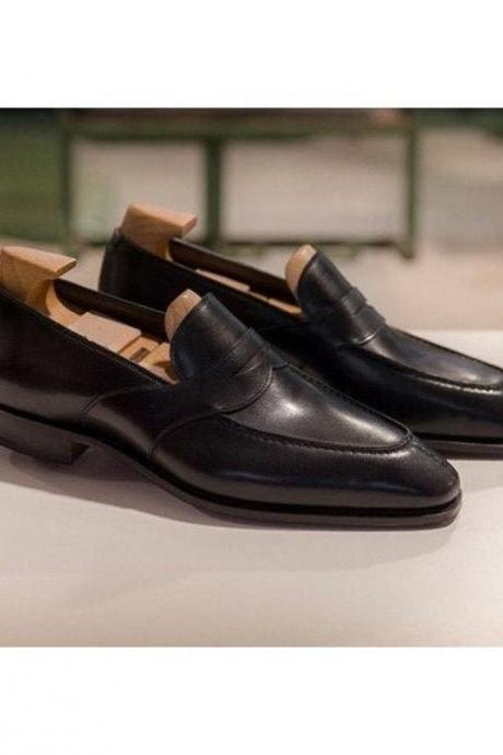 Black Penny Loafer Slips On Moccasin Dress Shoes