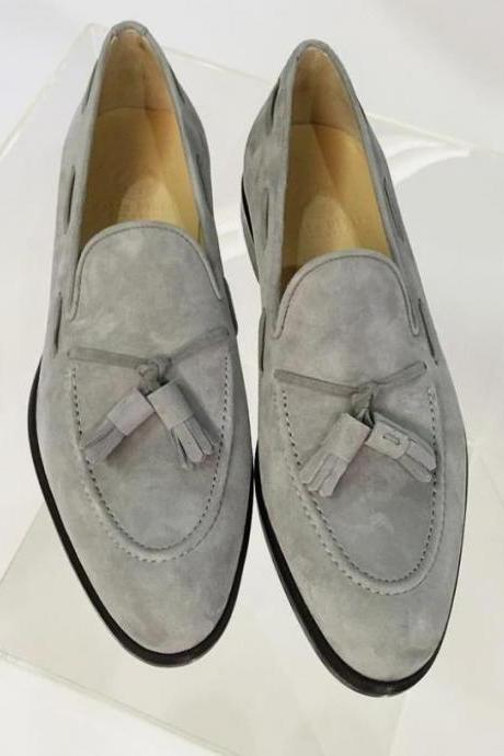 Gray Suede Tassels Loafer Slips On Moccasin Dress Shoes