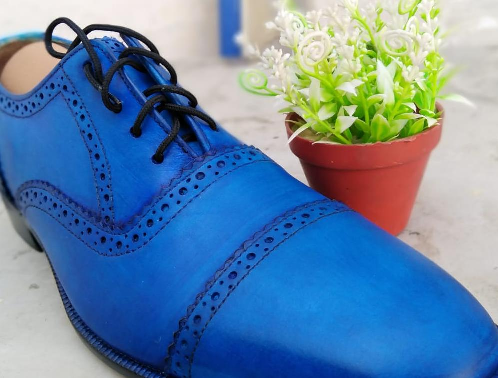 Mens Blue Leather Oxfords Cool Look Handmade Leather Shoes Size 9.5 US