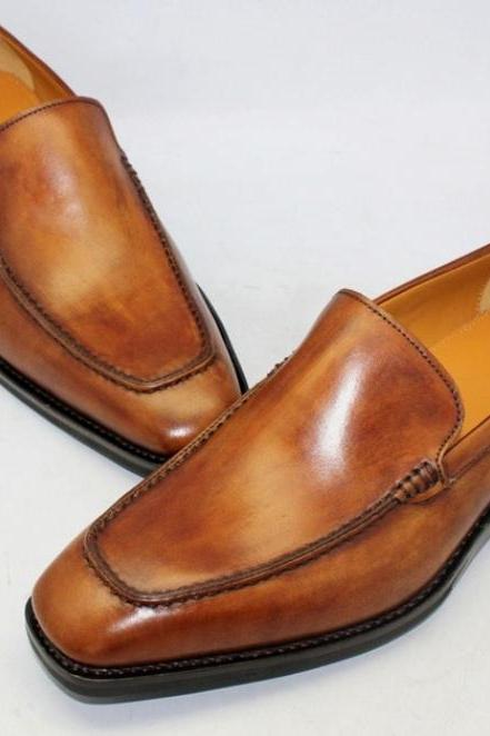 Luxury Handmade Brown Moccasin Leather Dress Shoes