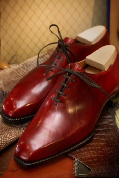 New Handmade Red Leather Derby Lace Up Men's Shoes