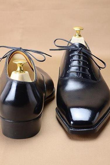 Best Handmade Black Narrow Toe Formal Lace Up Shoes