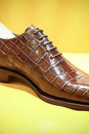 Handmade Brown Crocodile Alligator Skin Dress Lace Up Shoes