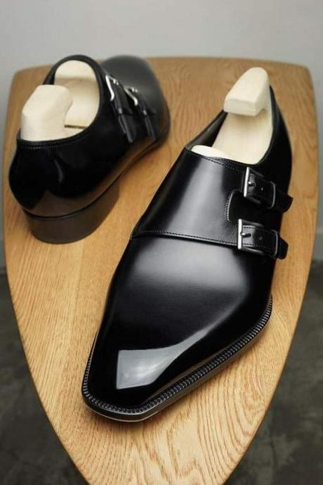 Classic Hand Stitch Black Double Monk Strap Leather Party Wear Shoes