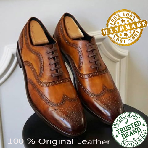 Handmade Mens Brown Wing Tip Brogue Collection